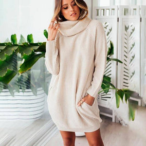 Collar Scarf Turtleneck Sweater Dress (PLUS SIZE UP TO XXXL)  -  Beige / S  -  Pullovers  - SNS Outlet