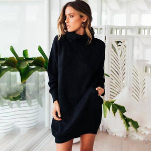 Collar Scarf Turtleneck Sweater Dress (PLUS SIZE UP TO XXXL)  -  Black / S  -  Pullovers  - SNS Outlet