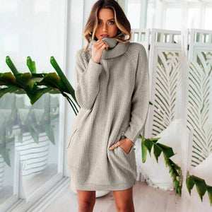 Collar Scarf Turtleneck Sweater Dress (PLUS SIZE UP TO XXXL)  -  Gray / S  -  Pullovers  - SNS Outlet