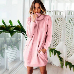 Collar Scarf Turtleneck Sweater Dress (PLUS SIZE UP TO XXXL)  -  Pink / S  -  Pullovers  - SNS Outlet