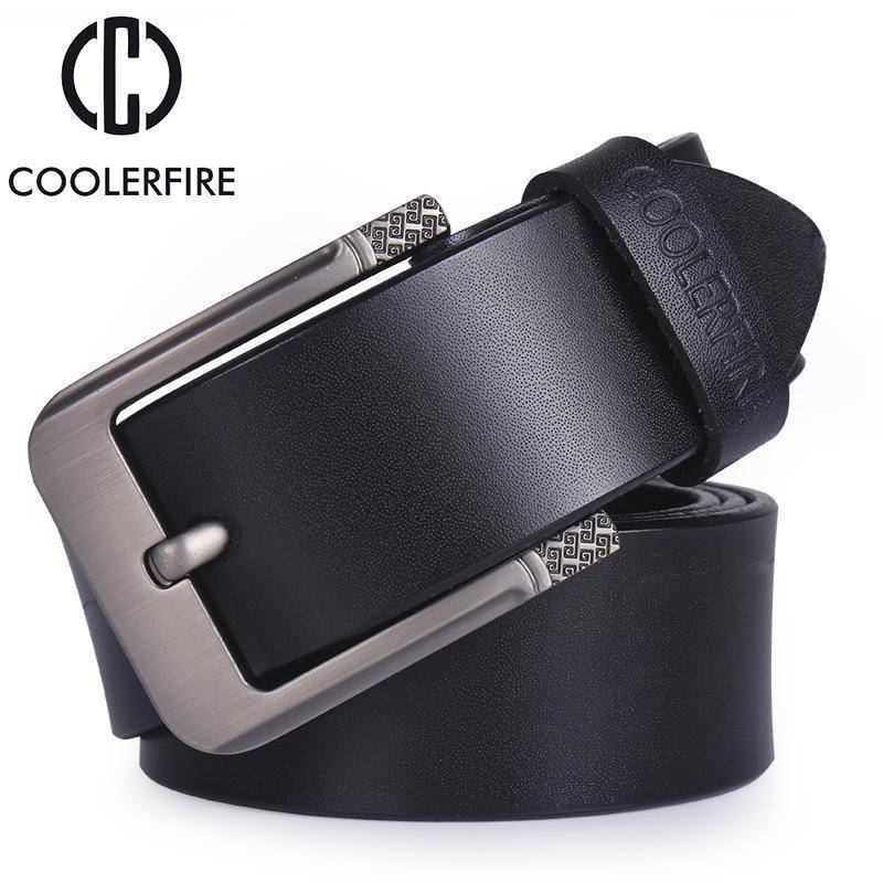 CoolerFire Mens Leather Belt  -  HQ031balck / 100cm  -  Belt  - SNS Outlet