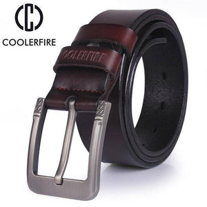 CoolerFire Mens Leather Belt  -  HQ031coffee / 100cm  -  Belt  - SNS Outlet