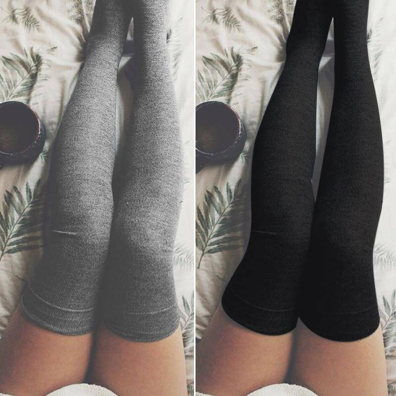 Cotton Thigh High Long Socks  -  Black  -  Socks  - SNS Outlet