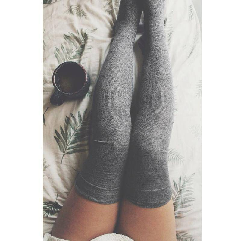 Cotton Thigh High Long Socks  -  Gray  -  Socks  - SNS Outlet