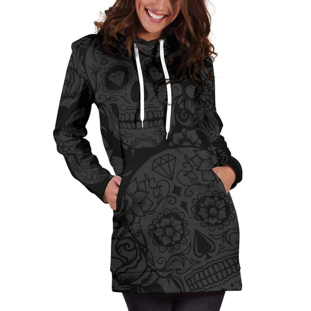 Dark Sugar Skull Hoodie Dress  -  3XL  -  Hoodie Dress  - SNS Outlet