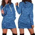 Denim Print  Hoodie Dress  -  Women's Hoodie Dress / XS  -  Hoodie Dress  - SNS Outlet