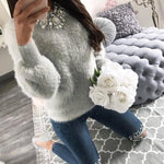 ELSVIOS Furry Sweater  -  Khaki / L  -  Sweater  - SNS Outlet