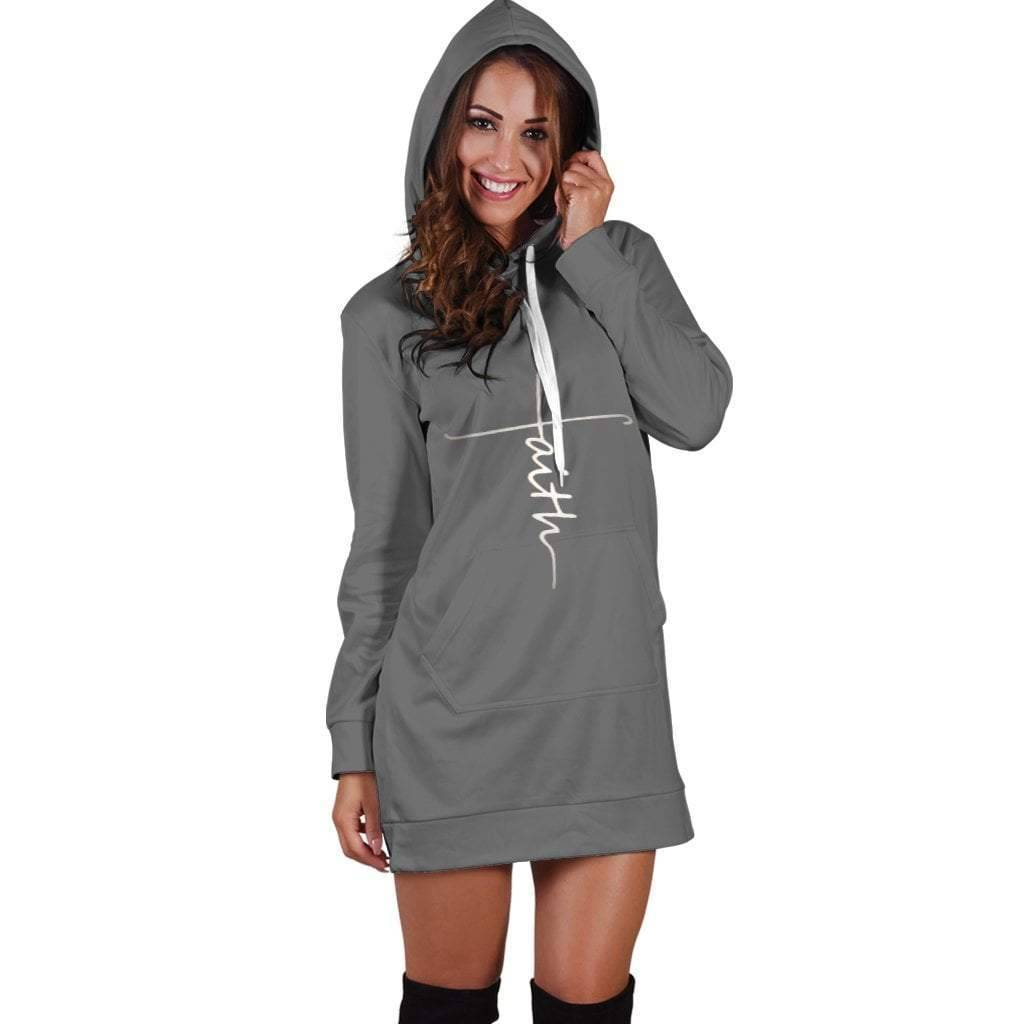 Faith Hoodie Dress Gray  -  Women's Hoodie Dress / XS  -   - SNS Outlet