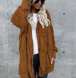 Women's Fuzzy Teddy Jacket    -  Classic Brown / S  -  Jacket  - SNS Outlet