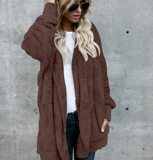 Women's Fuzzy Teddy Jacket    -  Coffee Brown / S  -  Jacket  - SNS Outlet