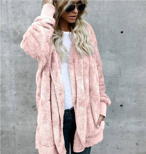 Women's Fuzzy Teddy Jacket   -  Pink / S  -  Jacket  - SNS Outlet