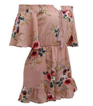 Floral Women's Summer Romper Jumpsuit  -  pink / S  -  Rompers  - SNS Outlet