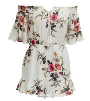 Floral Women's Summer Romper Jumpsuit  -  white / S  -  Rompers  - SNS Outlet