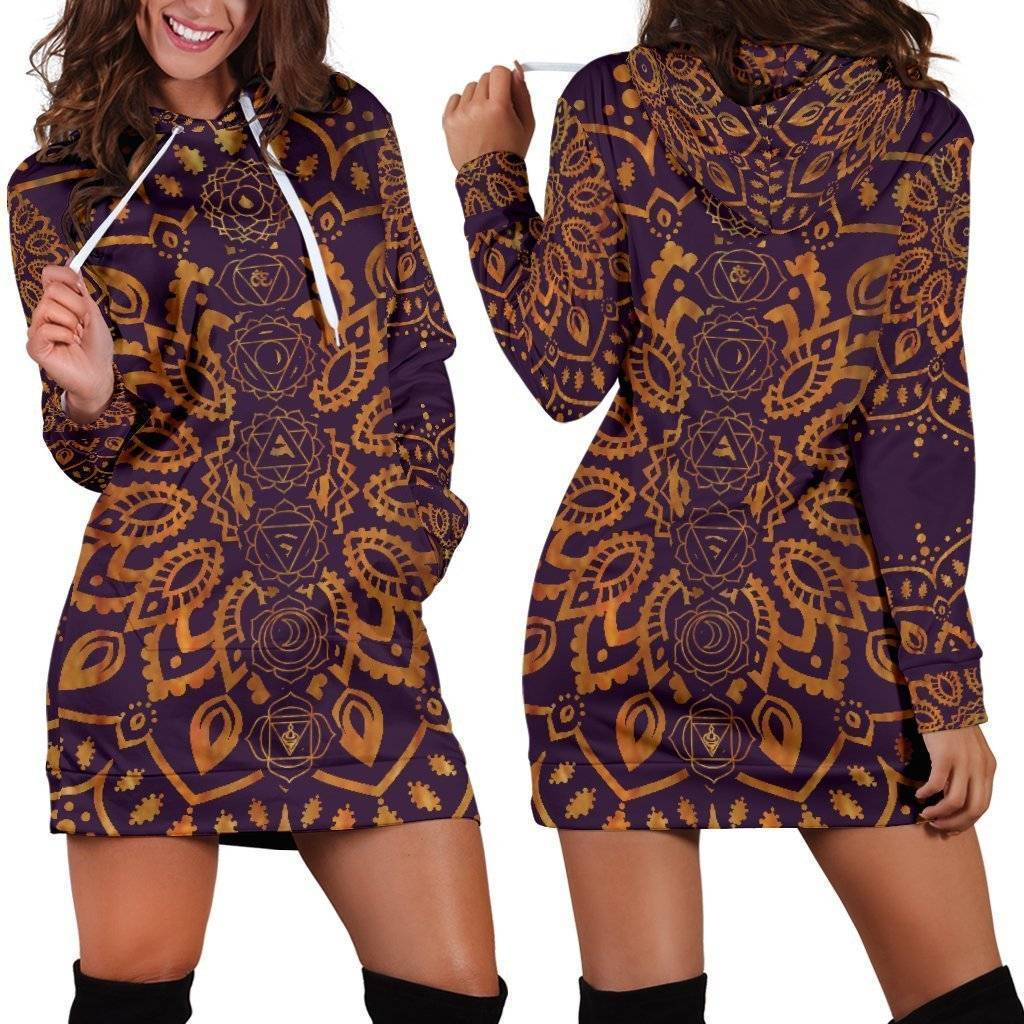 Gold Chakra Mandala Hoodie Dress  -  Women's Hoodie Dress / XS  -  Hoodie Dress  - SNS Outlet