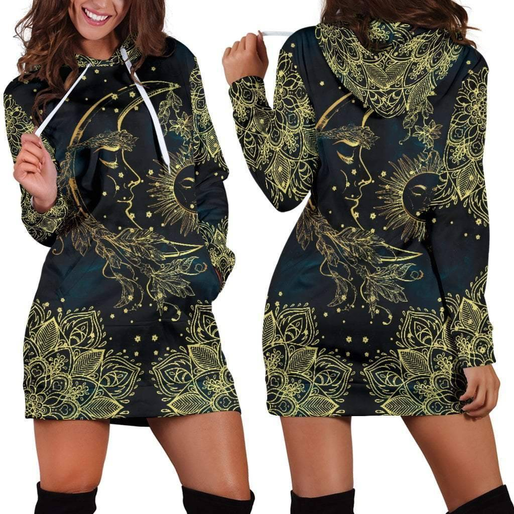 Gold Sun Moon Hoodie Dress  -  Women's Hoodie Dress / XS  -  Hoodie Dress  - SNS Outlet