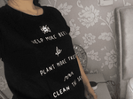 Help More Bees Plant More Trees Clean The Seas  T-Shirt  -  Black / S  -  T-Shirts  - SNS Outlet