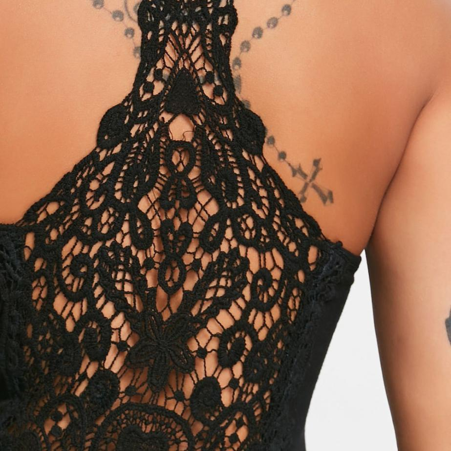 Hollow Lace Racerback Tank  -  Black / S  -  Tank Tops  - SNS Outlet