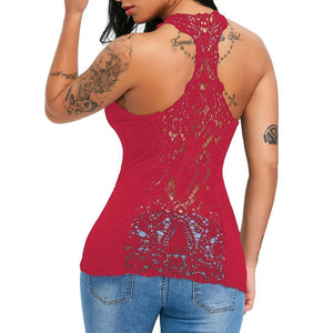 Hollow Lace Racerback Tank  -  Red / S  -  Tank Tops  - SNS Outlet