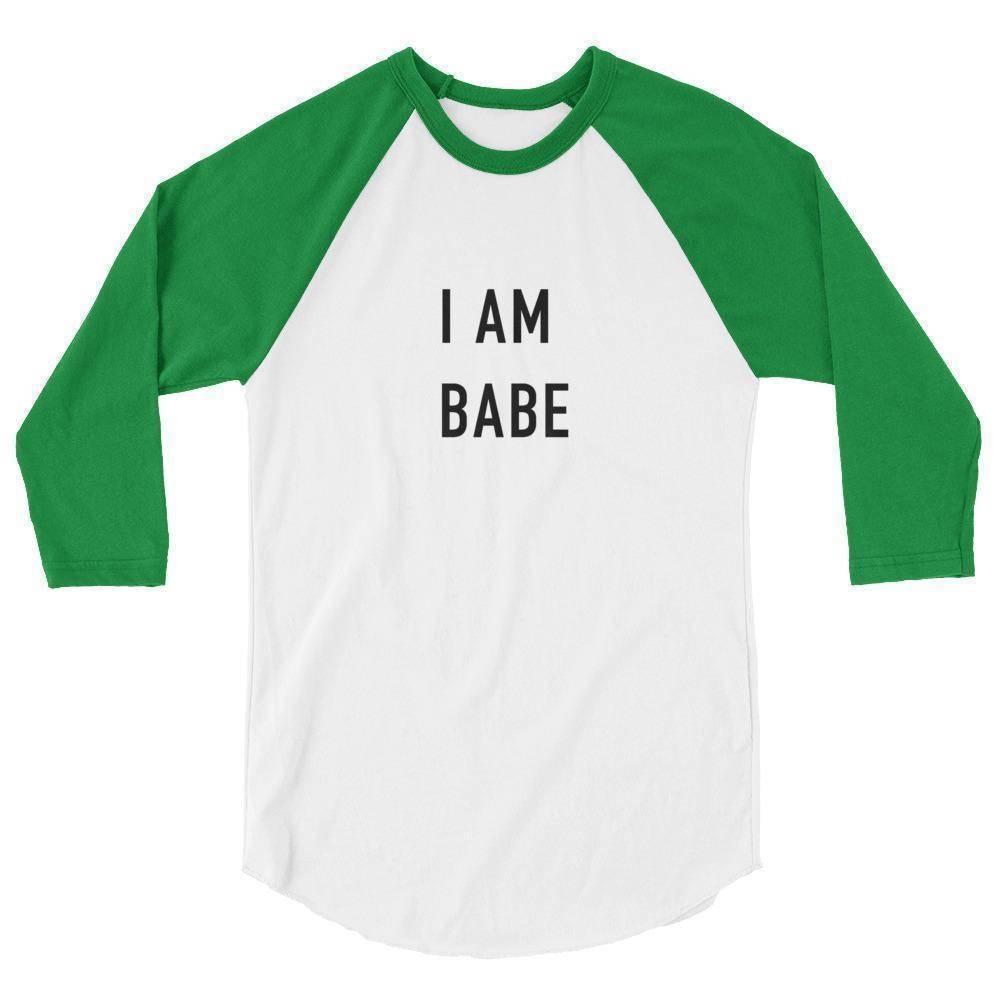 I Am Babe Womens 3/4 sleeve raglan shirt  -  White/Kelly / XS  -   - SNS Outlet