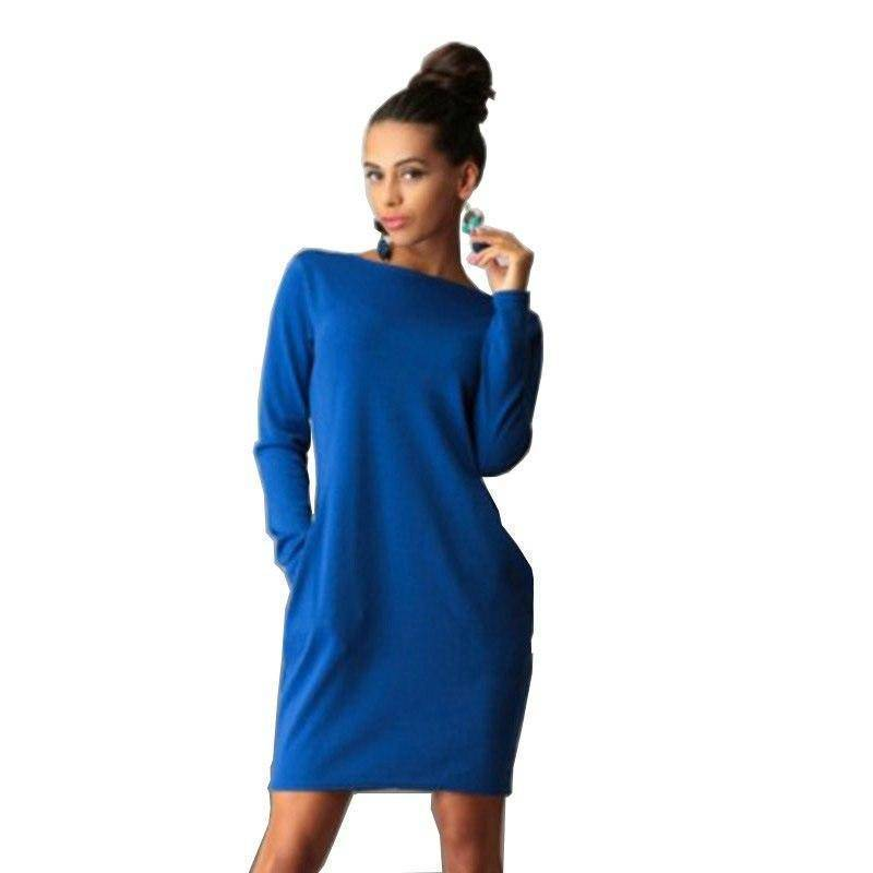 I Am Beauty™ Autumn Dress  (PLUS SIZE UP TO 5X)  -  Sky Blue / S  -  Dress  - SNS Outlet