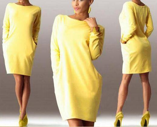 I Am Beauty™ Autumn Dress  (PLUS SIZE UP TO 5X)  -  Yellow / S  -  Dress  - SNS Outlet