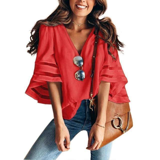 I Am Beauty™ Casual V Neck Mesh Blouse (PLUS SIZE UP TO 5X)  -  Red / XXL  -  Blouses & Shirts  - SNS Outlet