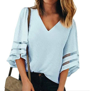I Am Beauty™ Casual V Neck Mesh Blouse (PLUS SIZE UP TO 5X)  -  Sky Blue / XXL  -  Blouses & Shirts  - SNS Outlet
