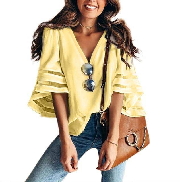 I Am Beauty™ Casual V Neck Mesh Blouse (PLUS SIZE UP TO 5X)  -  Yellow / XXL  -  Blouses & Shirts  - SNS Outlet