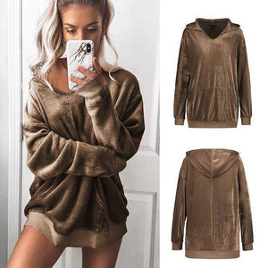 I Don't Need A Boyfriend Velour Hoodie  -  Brown / S  -  Hoodies & Sweatshirts  - SNS Outlet