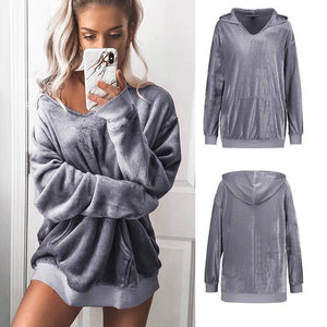 I Don't Need A Boyfriend Velour Hoodie  -  Grey / S  -  Hoodies & Sweatshirts  - SNS Outlet