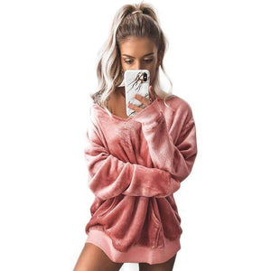 I Don't Need A Boyfriend Velour Hoodie  -  Pink / M  -  Hoodies & Sweatshirts  - SNS Outlet