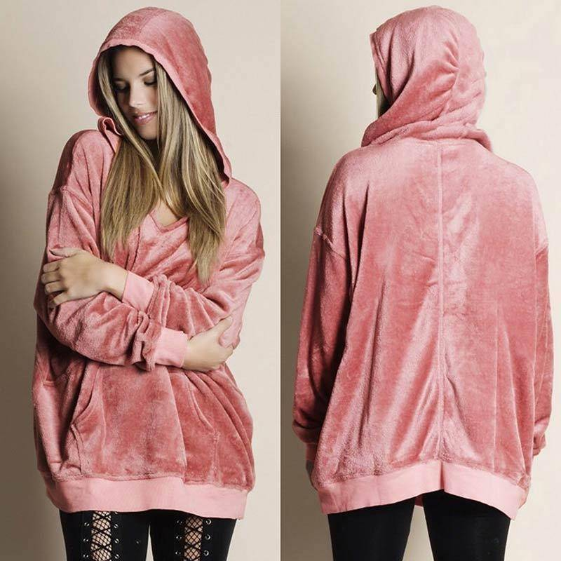 I Don't Need A Boyfriend Velour Hoodie  -  Pink / S  -  Hoodies & Sweatshirts  - SNS Outlet
