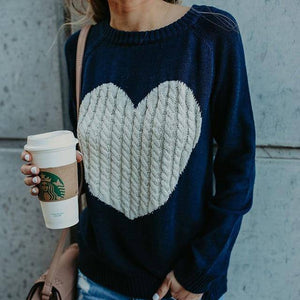 I Heart You Women's Pullover Sweaters Long Sleeve Crewneck Cute Heart Knitted Sweaters  -  navy blue / S  -  Sweater  - SNS Outlet