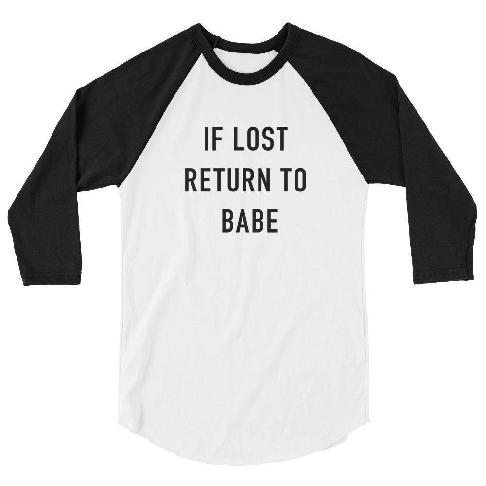 If Lost Return To Babe Raglan 3/4 Sleeve Shirt  -  White/Black / XS  -   - SNS Outlet