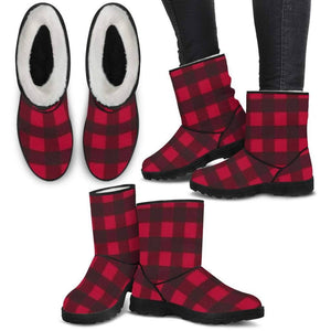Ladies Faux Boots - Red Plaid  -  Faux Fur Boots / US5.5 (EU36)  -  Hidden  - SNS Outlet
