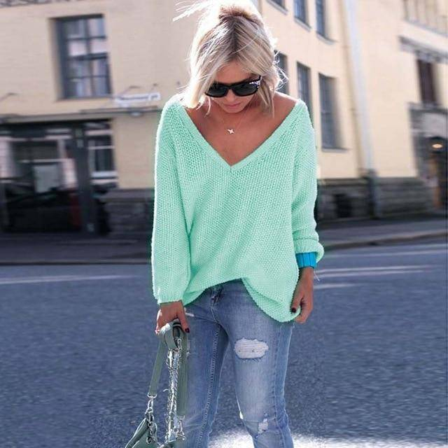 Livermore Long Sleeve V Neck Sweater  -  Green / XS  -  Pullovers  - SNS Outlet