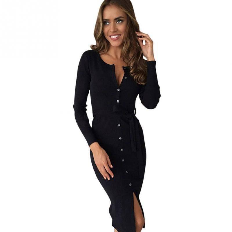 Long Sleeve Button Down Winter Midi Dress (PLUS SIZE UP TO 4X)  -  Black / XS  -  Hidden  - SNS Outlet