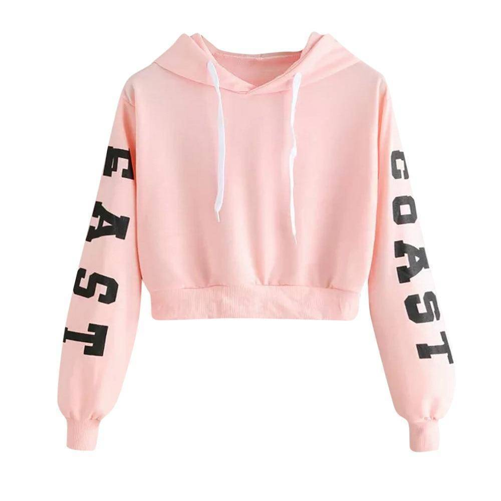 Long Sleeve Crew Neck Crop Top Hoodie  -  Black / XS  -  Hoodies & Sweatshirts  - SNS Outlet