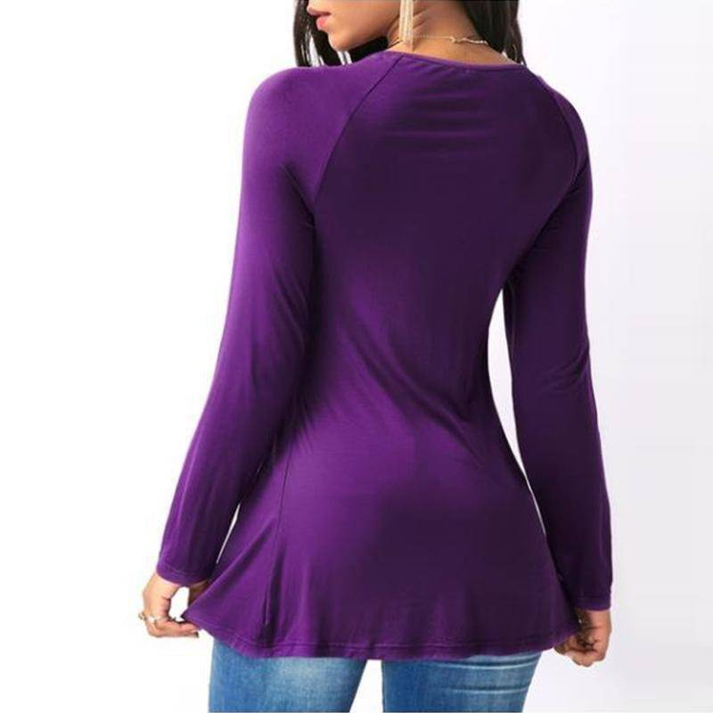 Long Sleeve V Neck Peplum Cross Top (S-5XL)  -  Black / S  -  Blouses & Shirts  - SNS Outlet