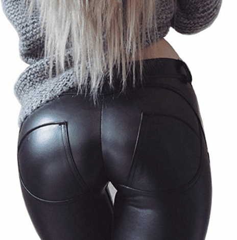 Low Waist Faux Leather Pants  -  Black / S  -  Faux Leather Pants  - SNS Outlet