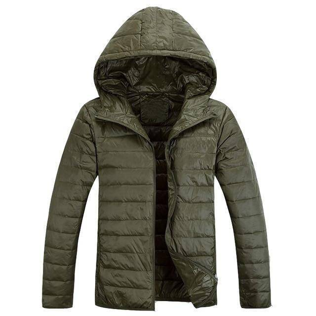 Mens Hooded Ultra Light Weight Duck Down Jacket  -  Army Green / XL  -  Jacket  - SNS Outlet