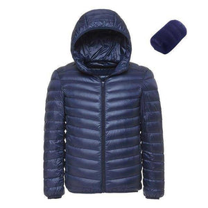 Mens Hooded Ultra Light Weight Duck Down Jacket  -  Blue / XL  -  Jacket  - SNS Outlet