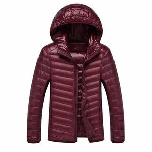 Mens Hooded Ultra Light Weight Duck Down Jacket  -  Red / XL  -  Jacket  - SNS Outlet