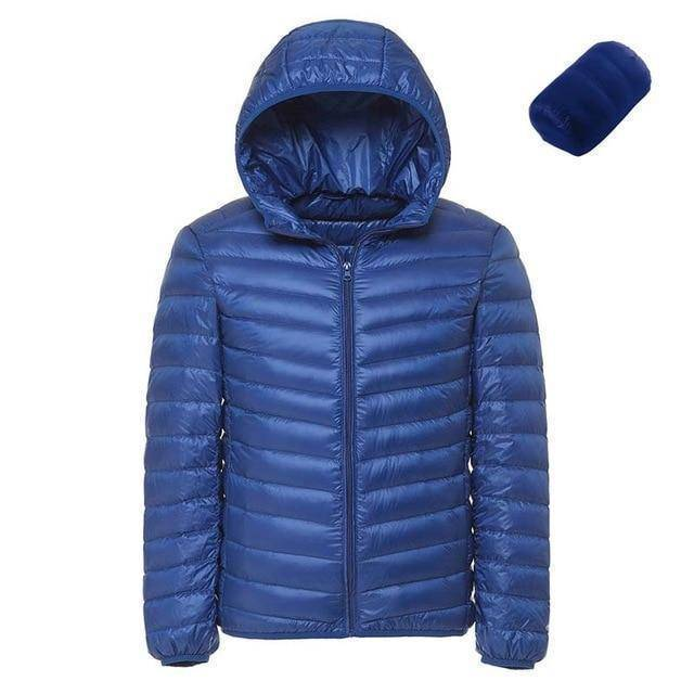 Mens Hooded Ultra Light Weight Duck Down Jacket  -  Sky Blue / XL  -  Jacket  - SNS Outlet