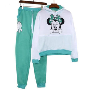 Minnie Mouse Tracksuit  -  Green / S  -  Women's Sets  - SNS Outlet