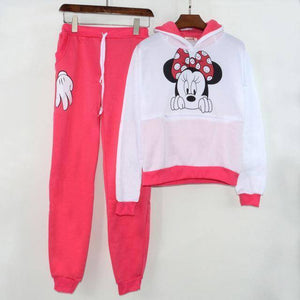 Minnie Mouse Tracksuit  -  Rose red / S  -  Women's Sets  - SNS Outlet