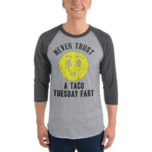 Never Trust Taco Tuesday 3/4 sleeve raglan shirt  -  Heather Grey/Heather Charcoal / S  -  Shirt  - SNS Outlet