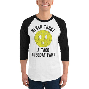 Never Trust Taco Tuesday 3/4 sleeve raglan shirt  -  White/Black / XS  -  Shirt  - SNS Outlet