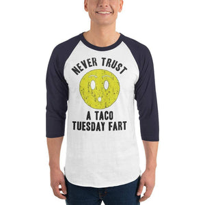 Never Trust Taco Tuesday 3/4 sleeve raglan shirt  -  White/Navy / XS  -  Shirt  - SNS Outlet