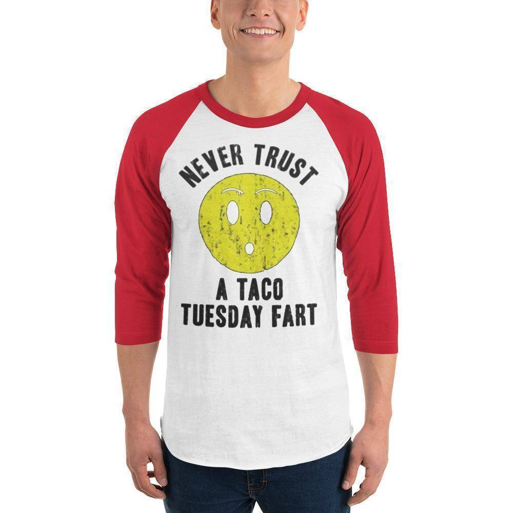 Never Trust Taco Tuesday 3/4 sleeve raglan shirt  -  White/Red / XS  -  Shirt  - SNS Outlet